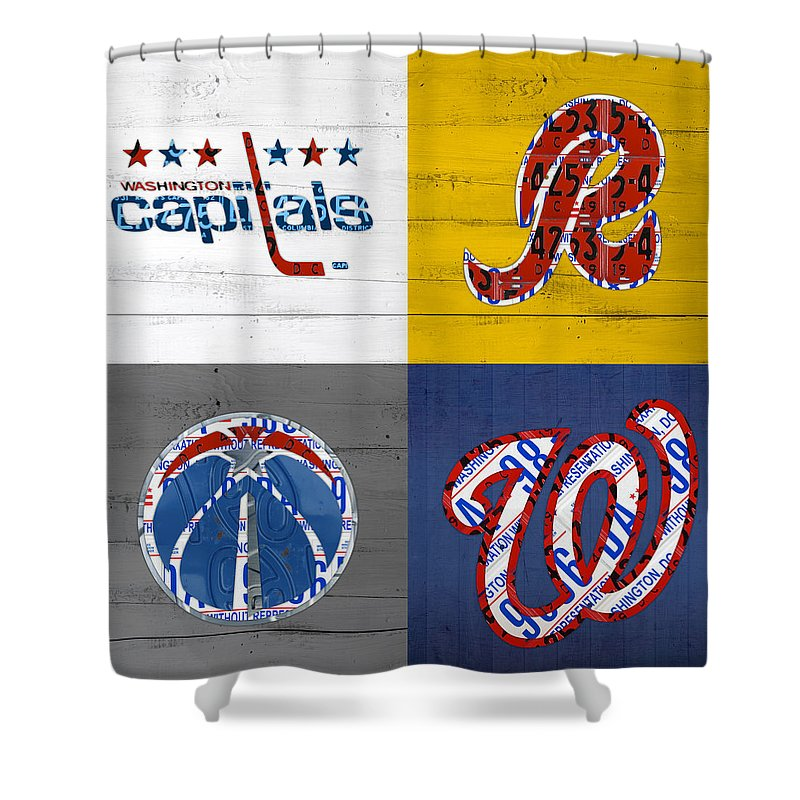 Washington Shower Curtain Featuring The Mixed Media Dc Sports Fan Recycled Vintage License Plate Art
