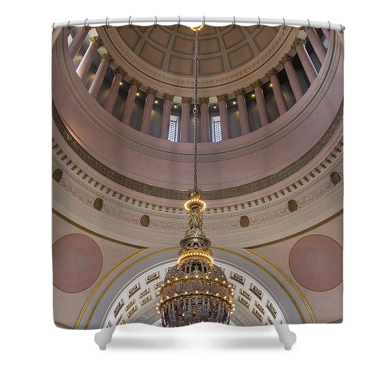 Washington Shower Curtain featuring the photograph Washington State Capitol Building Chandelier Closeup by Jit Lim