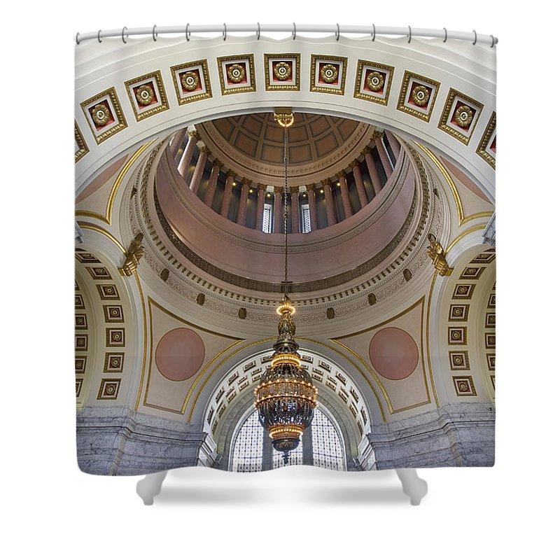 Washington Shower Curtain featuring the photograph Washington State Capitol Building Rotunda by Jit Lim