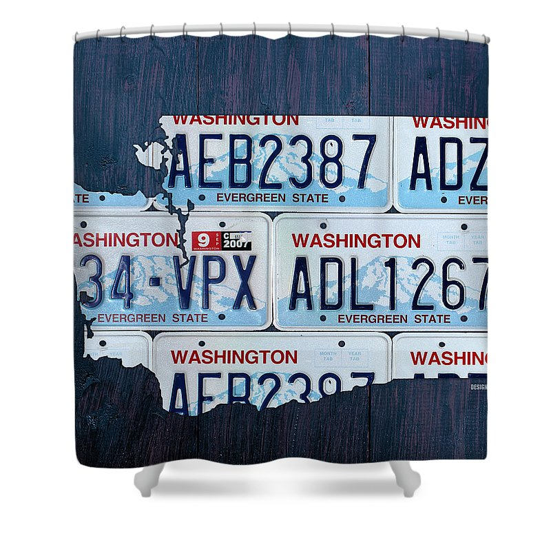 Washington Shower Curtain Featuring The Mixed Media State License Plate Map Art By Design Turnpike