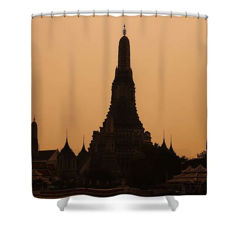3scape Photos Shower Curtain featuring the photograph Wat Arun by Adam Romanowicz