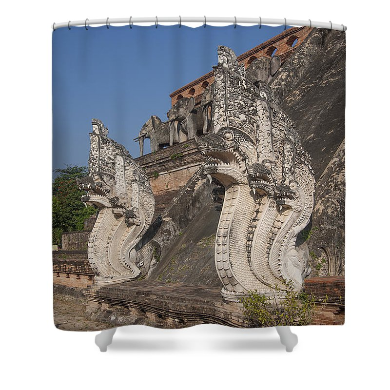 Thailand Shower Curtain featuring the photograph Wat Chedi Luang Phra Chedi Luang Five-headed Naga Dthcm0054 by Gerry Gantt