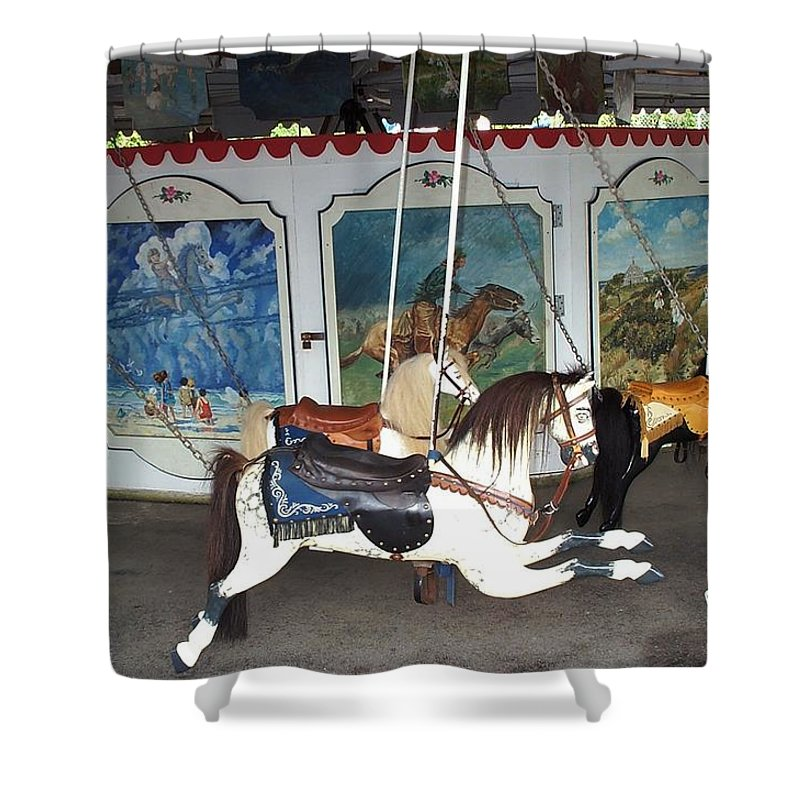 merry Go Round Shower Curtain featuring the photograph Watch Hill Merry Go Round by Barbara McDevitt