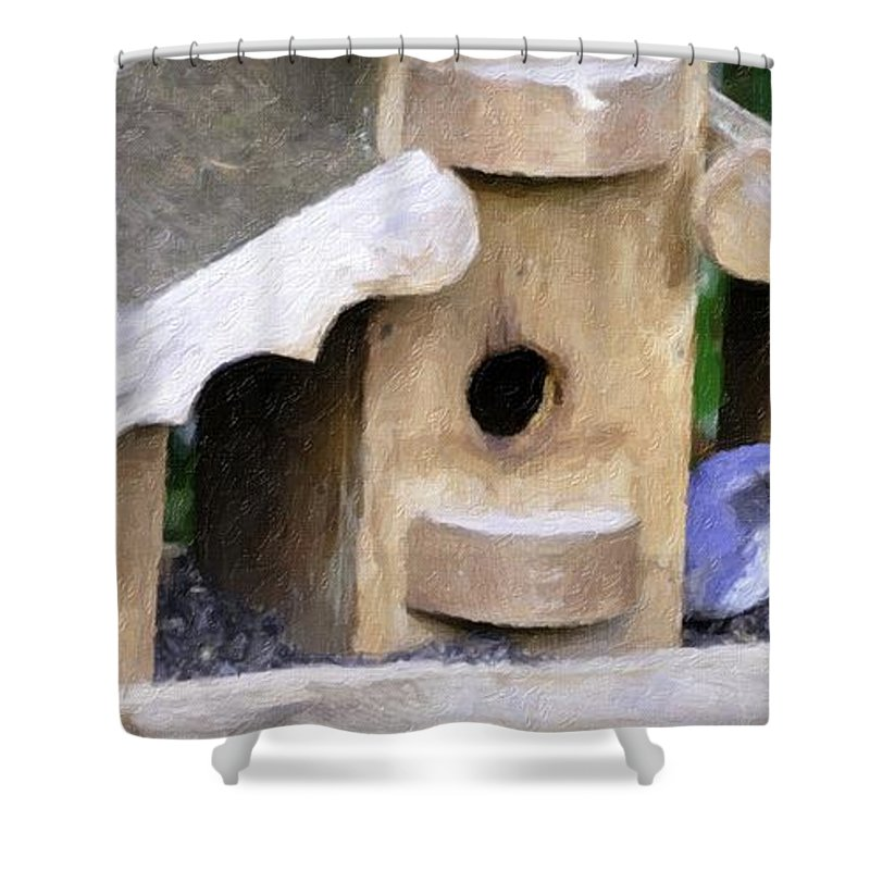 Oregon City Shower Curtain featuring the photograph Watching - Impasto Paint by Image Takers Photography LLC - Carol Haddon