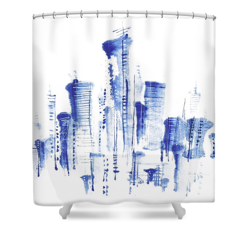 White Background Shower Curtain featuring the digital art Water-and-ink Cityscape by Bji/blue Jean Images
