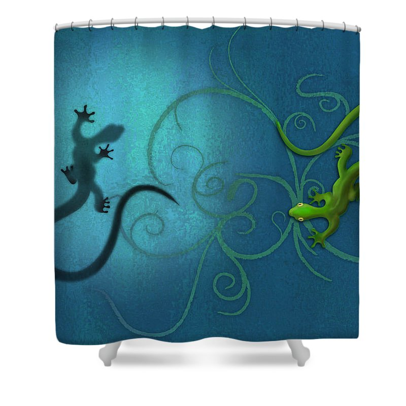 Blue Digital Art Shower Curtains