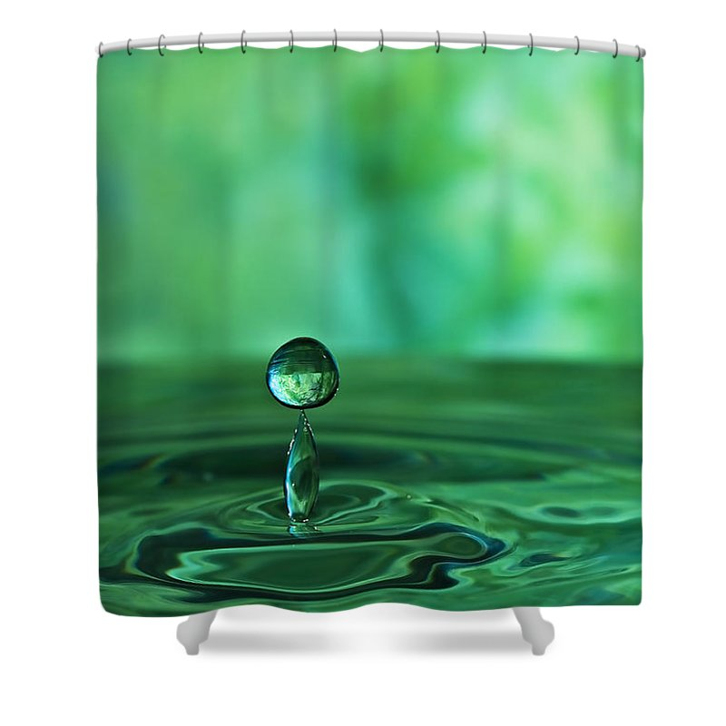 Water Shower Curtain featuring the photograph Water Drop Green by Linda Blair