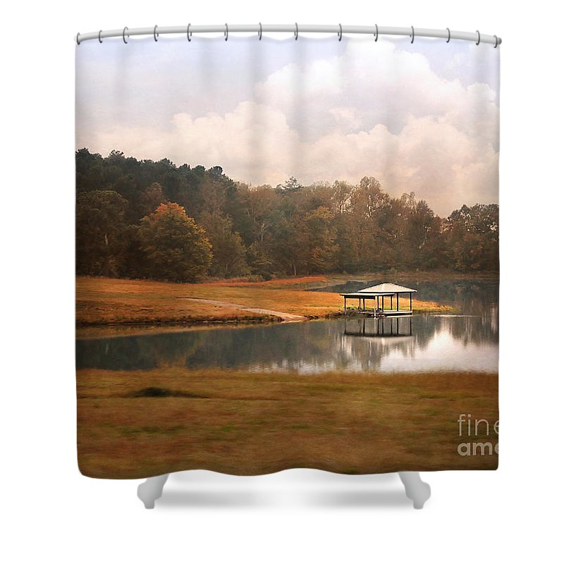 Gazebo Shower Curtain featuring the photograph Water Gazebo by Jai Johnson