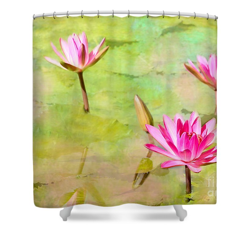 Landscape Shower Curtain featuring the photograph Water Lilies Inspired By Monet by Sabrina L Ryan