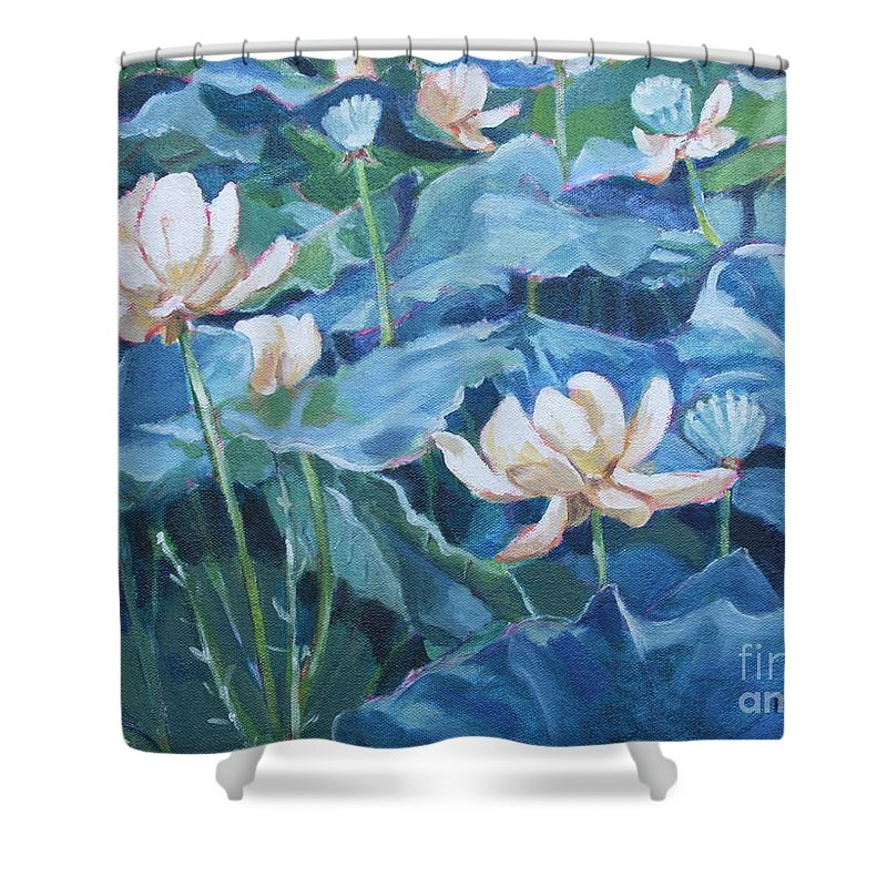 Water Lilies Shower Curtain featuring the painting Water Lilies Two by Jan Bennicoff