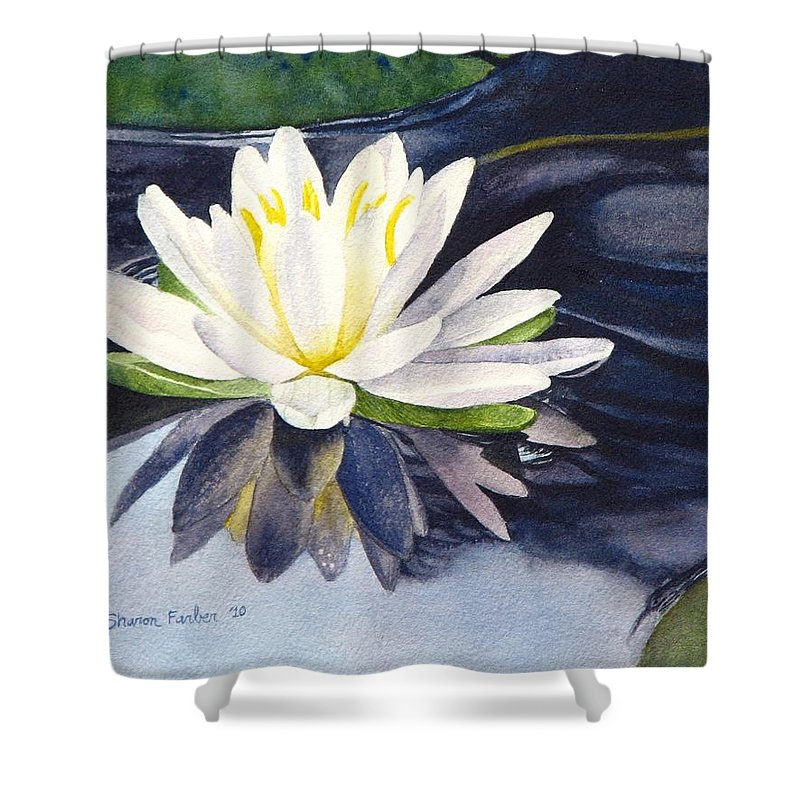 Water Lily Shower Curtain featuring the painting Water Lily by Sharon Farber