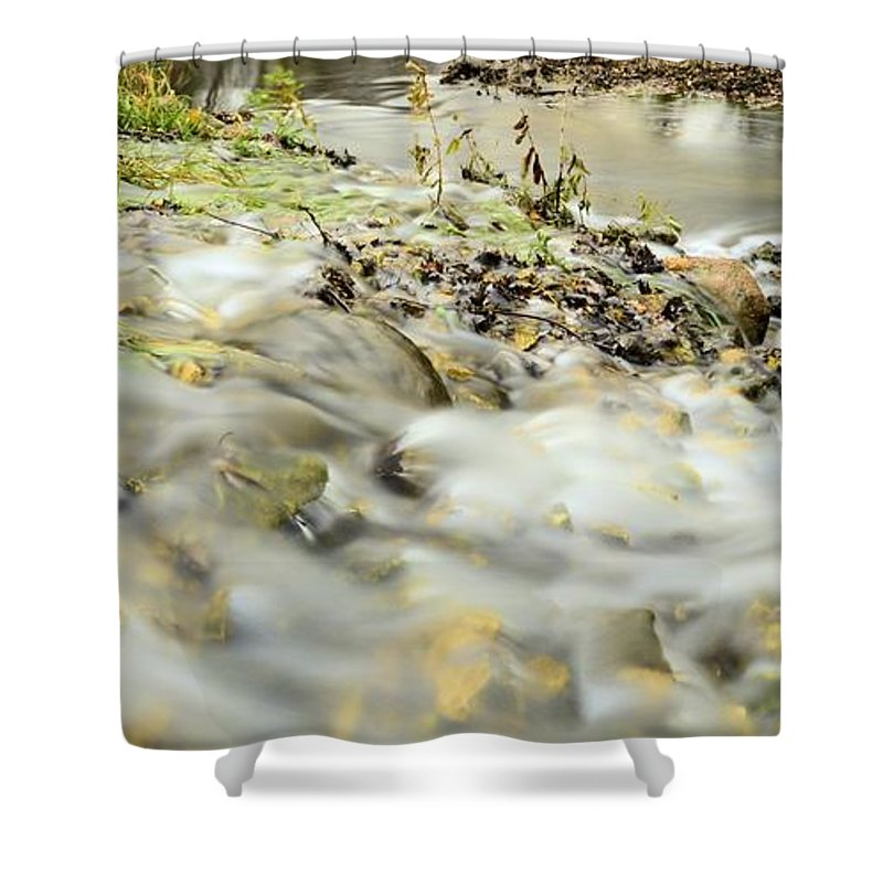 Spillway Shower Curtain featuring the photograph Water Over The Dike by Bonfire Photography