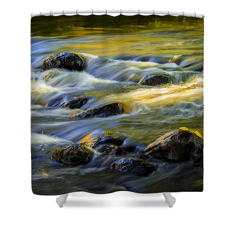 Art Shower Curtain featuring the photograph Beautiful Water Reflections On The Flowing Thornapple River by Randall Nyhof