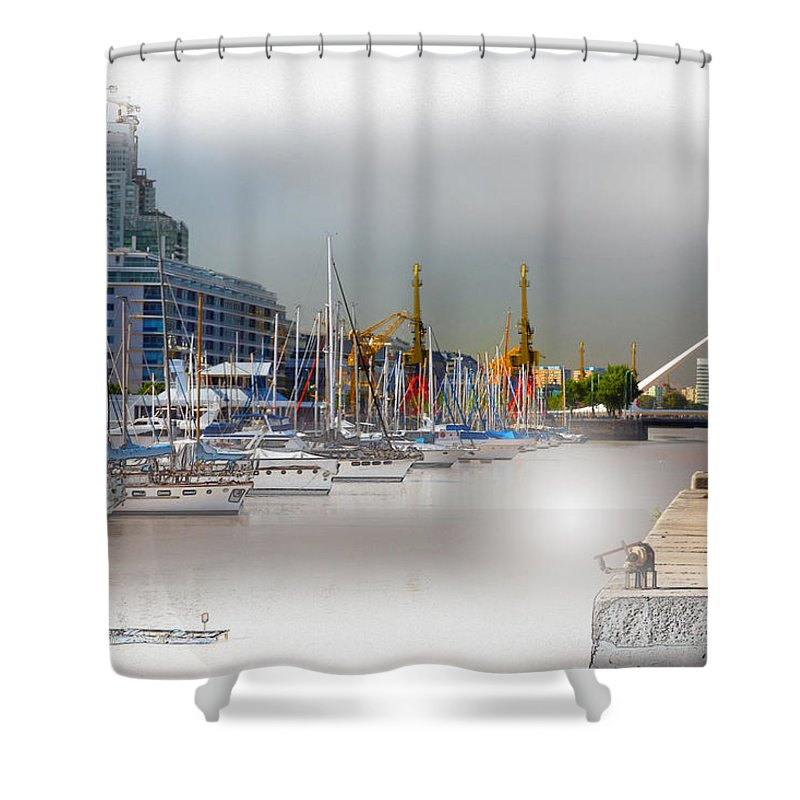 Water Shower Curtain featuring the digital art Water Way Buenos Aires by Diane Dugas