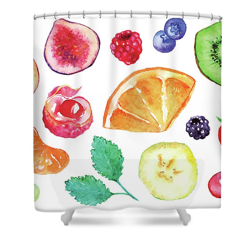 Cherry Shower Curtain featuring the digital art Watercolor Exotic Fruit Berry Slice Set by Silmairel
