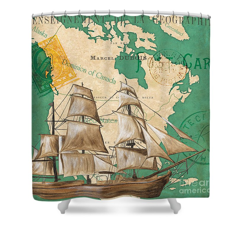 Watercolor Shower Curtain featuring the painting Watercolor Map 2 by Debbie DeWitt