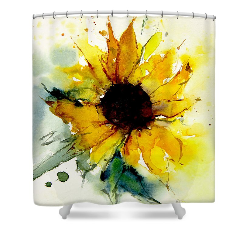 Watercolor Shower Curtain Featuring The Painting Sunflower By Annemiek Groenhout