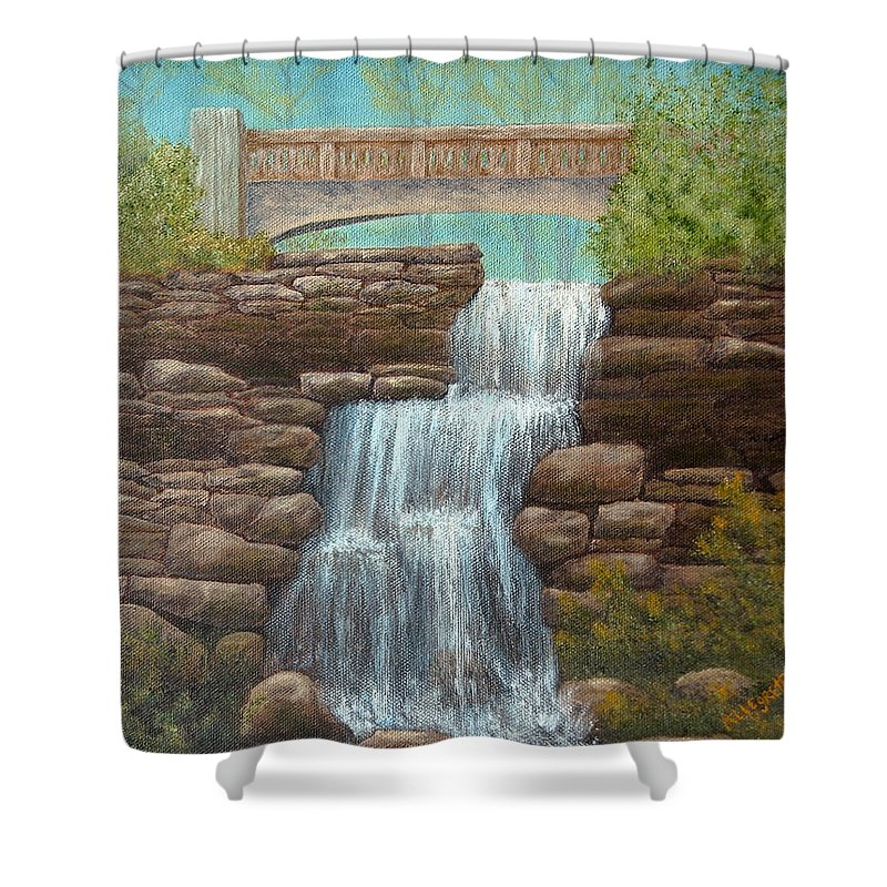 Pamela Allegretto Franz Shower Curtain featuring the painting Waterfall At East Hampton by Pamela Allegretto
