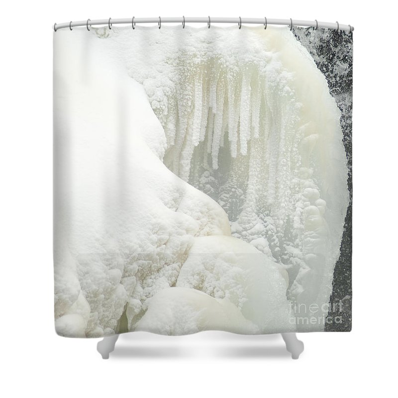 Snow Shower Curtain featuring the photograph Waterfall Ice Formation by Optical Playground By MP Ray