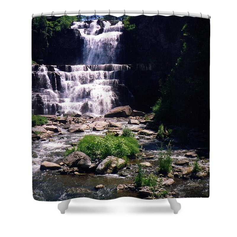 Waterfall Shower Curtain featuring the photograph Waterfall Into The Stream by Jo Jurkiewicz