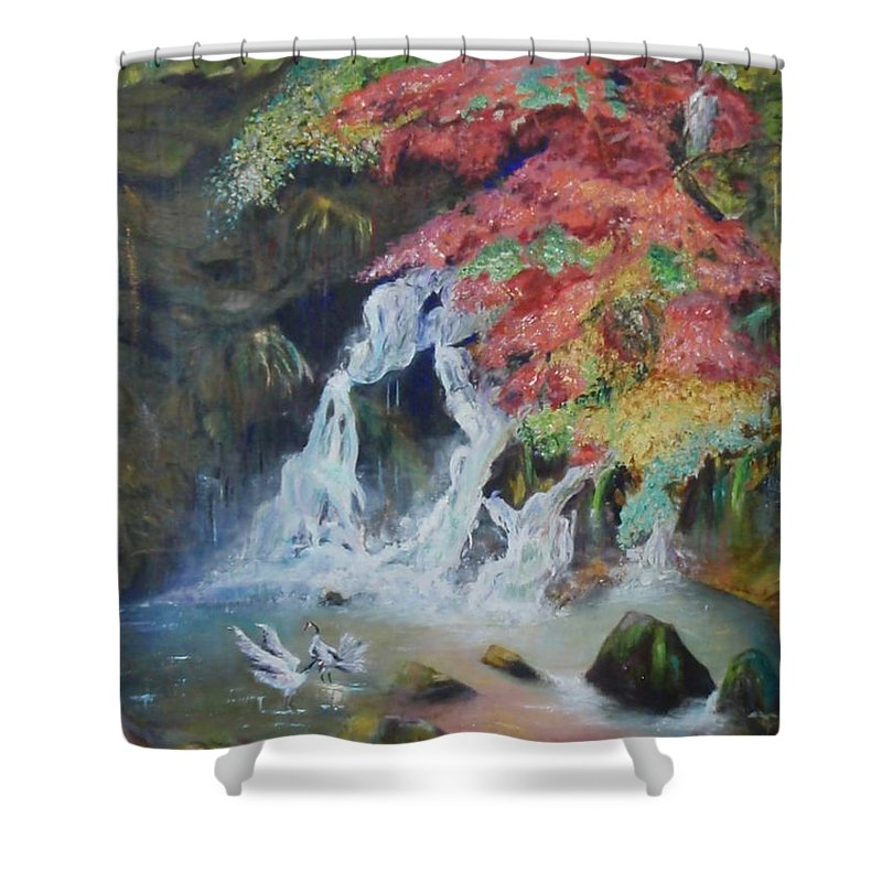 Water Shower Curtain featuring the painting Japanese Waterfall by Jeff Troeltzsch
