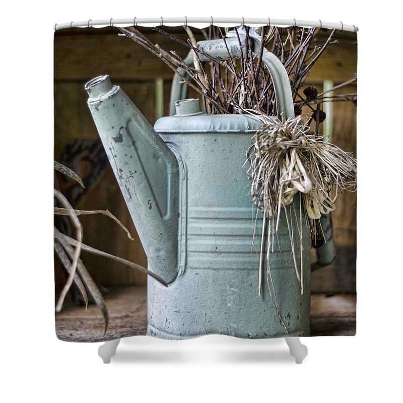 Gardener Shower Curtain featuring the photograph Watering Can Pot by Heather Applegate