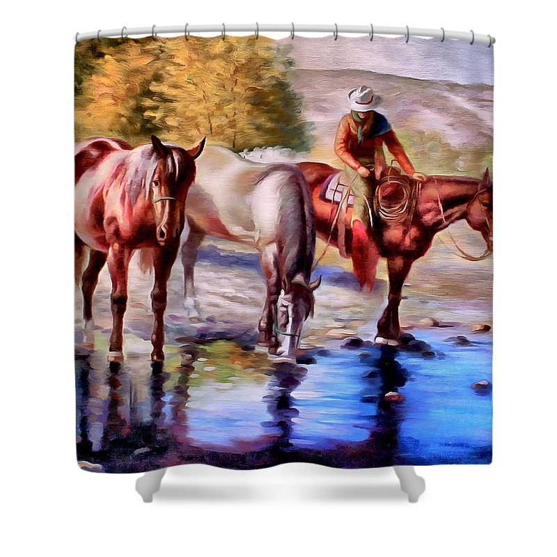 Western Shower Curtain featuring the painting Watering The Horses by Studio Artist