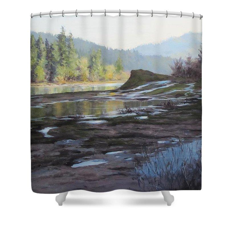 Acrylic Shower Curtain featuring the painting Waterways by Karen Ilari