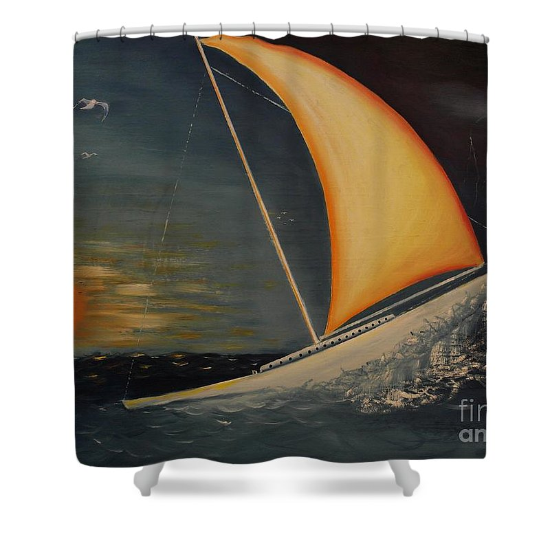 Oil Painting Shower Curtain featuring the painting Wave Crasher by Wayne Cantrell