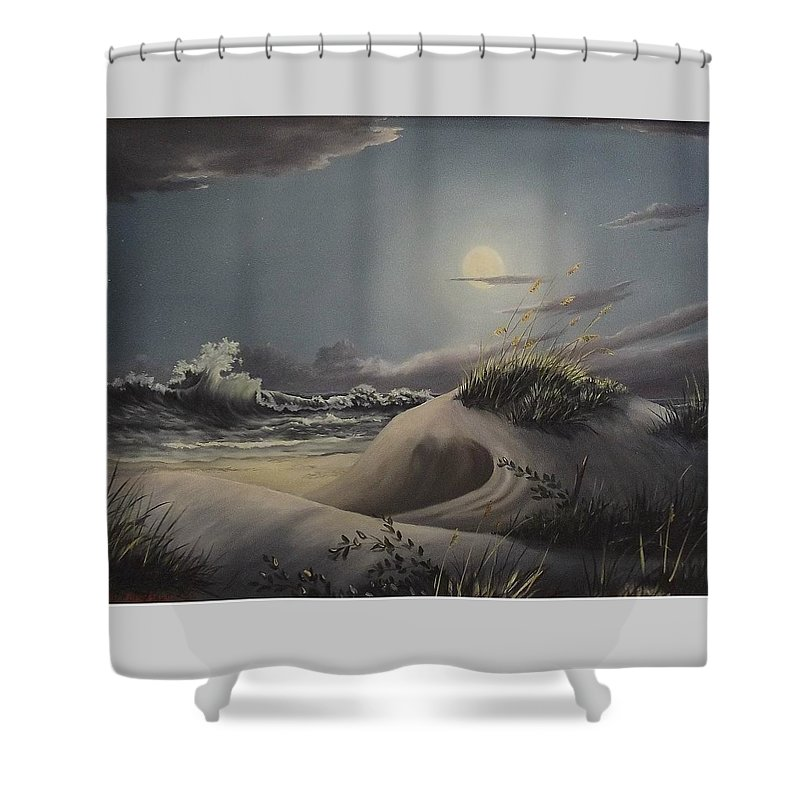 Landscape Shower Curtain featuring the painting Waves And Moonlight by Wanda Dansereau