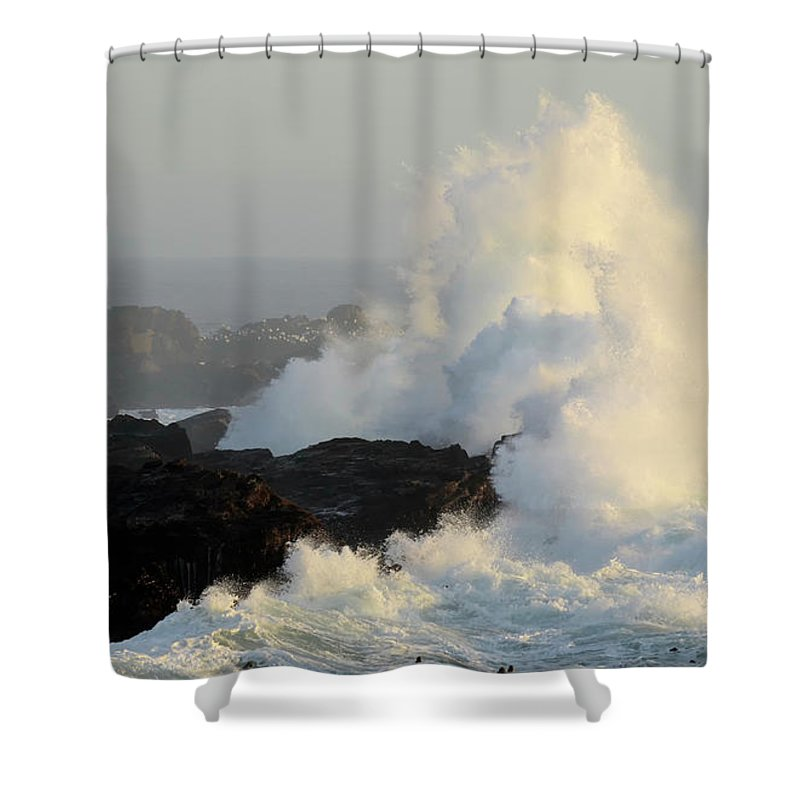 California Shower Curtain featuring the photograph Waves At Salt Point by Bob Christopher
