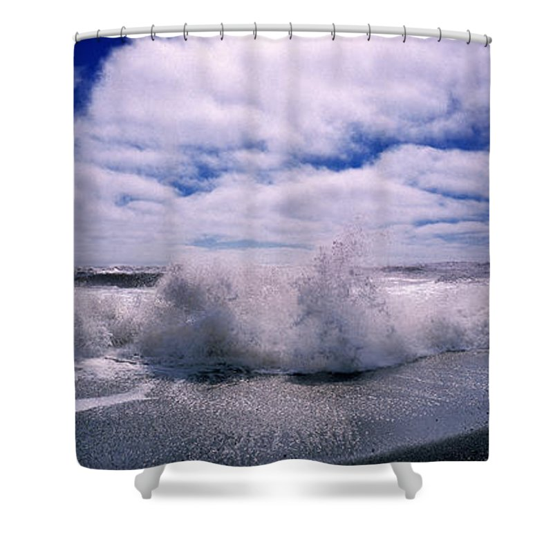 Photography Shower Curtain featuring the photograph Waves Breaking At The Coast, Iceland by Panoramic Images