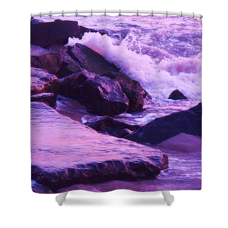 Wave Shower Curtain featuring the photograph Waves Breaking On Jetties by Eric Schiabor