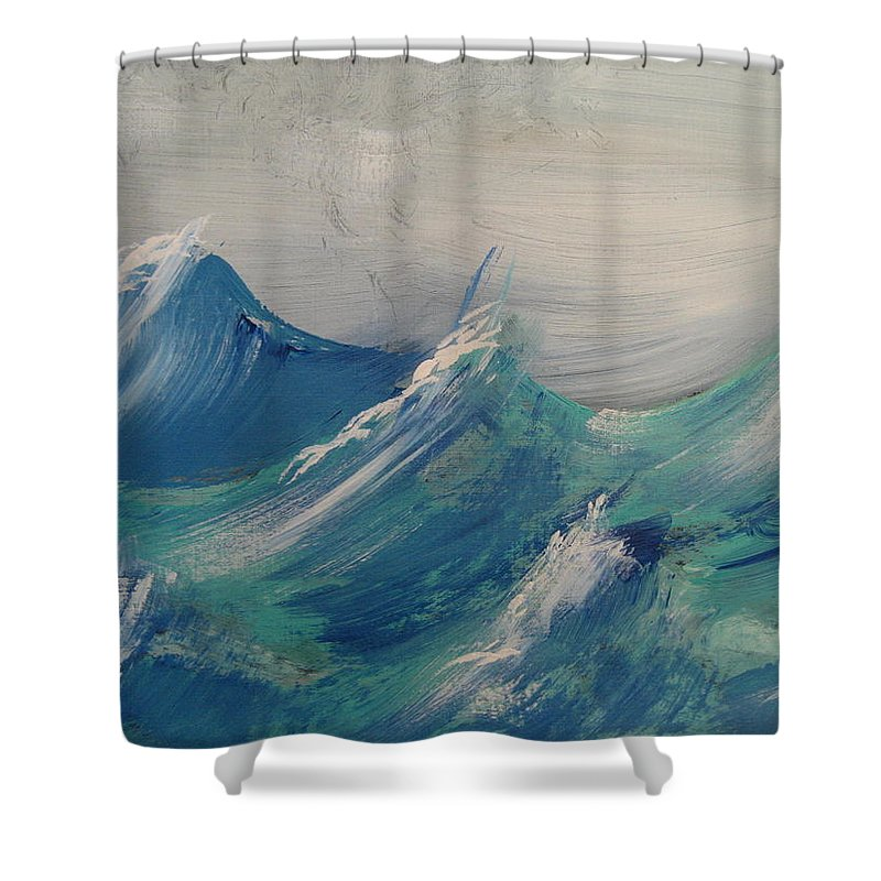 Waves Shower Curtain featuring the painting Waves In Motion by Dotti Hannum
