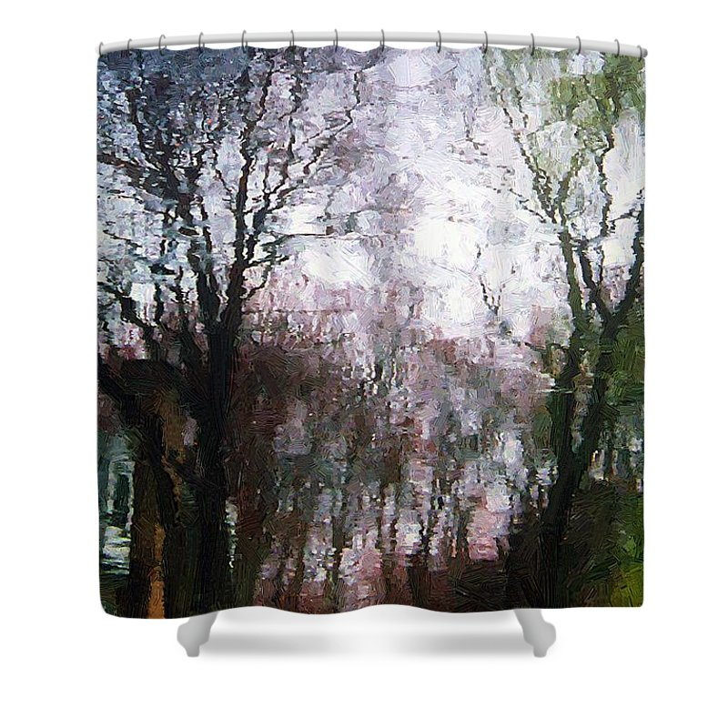 Connecticut Shower Curtain featuring the painting Wavy Willows by RC DeWinter