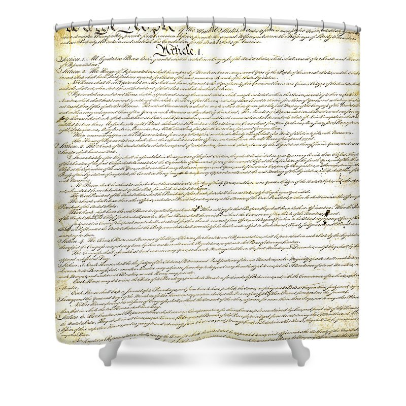 Constitution Shower Curtain featuring the photograph We The People Constitution Page 1 by Charles Beeler