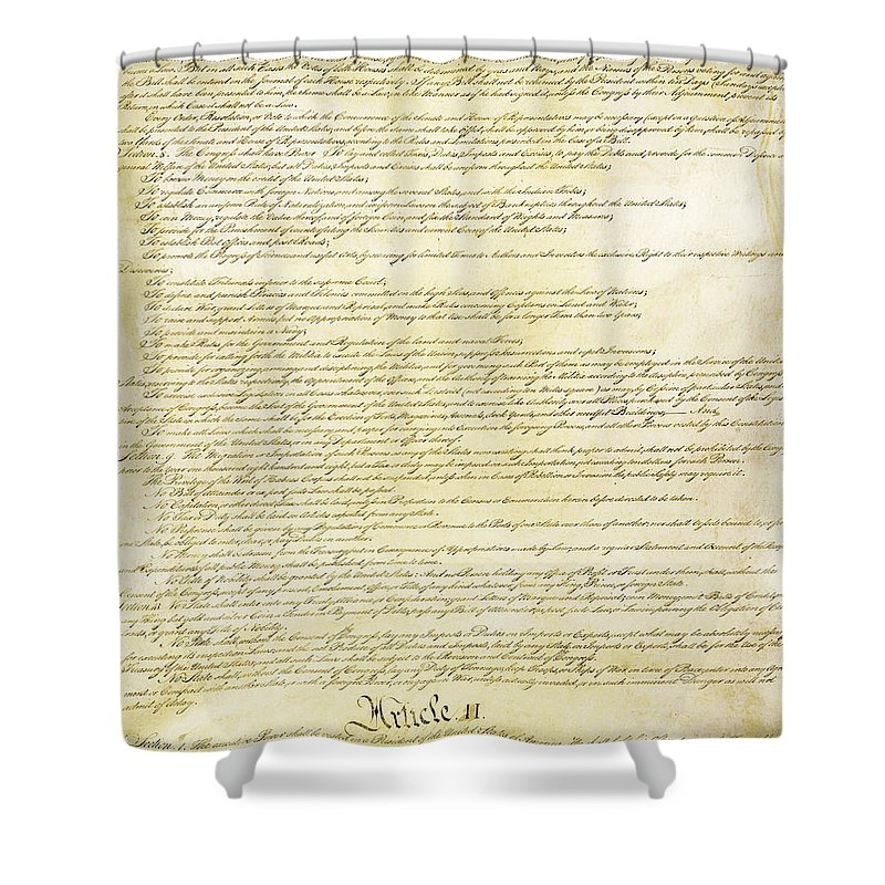 Constitution Shower Curtain featuring the photograph We The People Constitution Page 2 by Charles Beeler