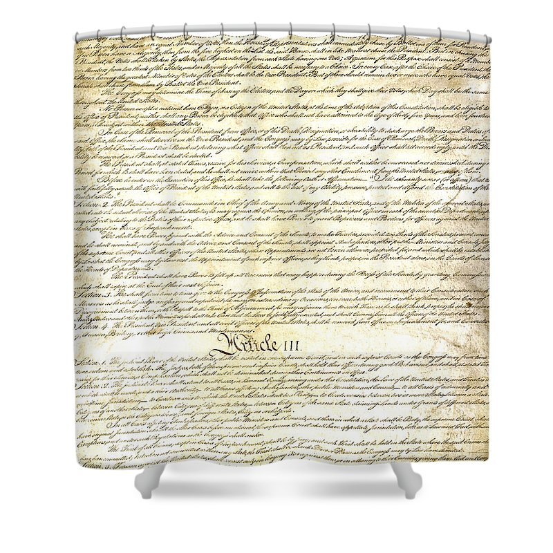 Constitution Shower Curtain featuring the photograph We The People Constitution Page 3 by Charles Beeler
