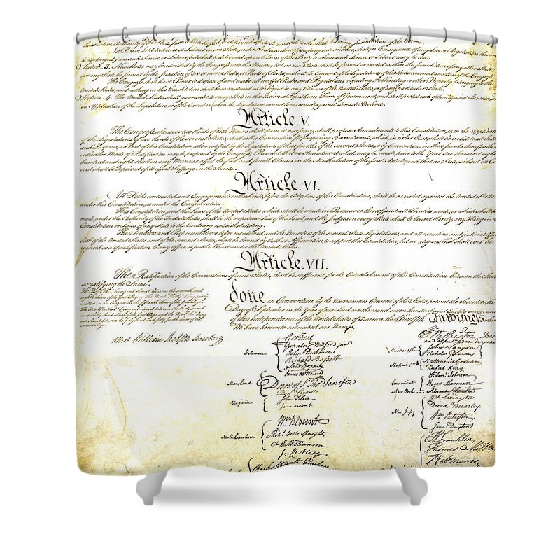 Constitution Shower Curtain featuring the photograph We The People Constitution Page 4 by Charles Beeler