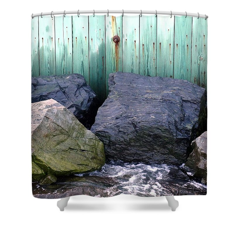 Rocks Shower Curtain featuring the photograph Weatherbeaten by Deborah Crew-Johnson