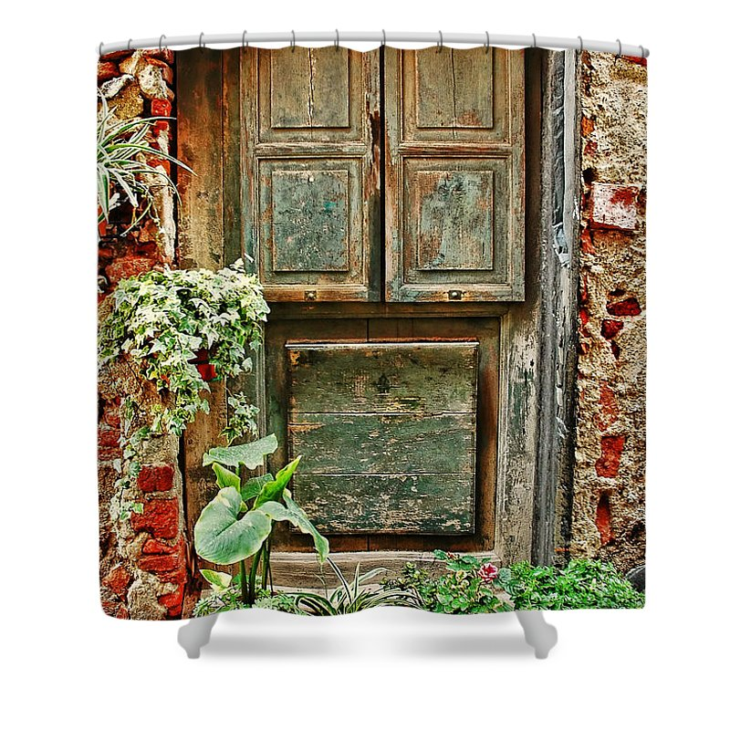 Italian Shower Curtain featuring the photograph Weathered Door by Allen Beatty