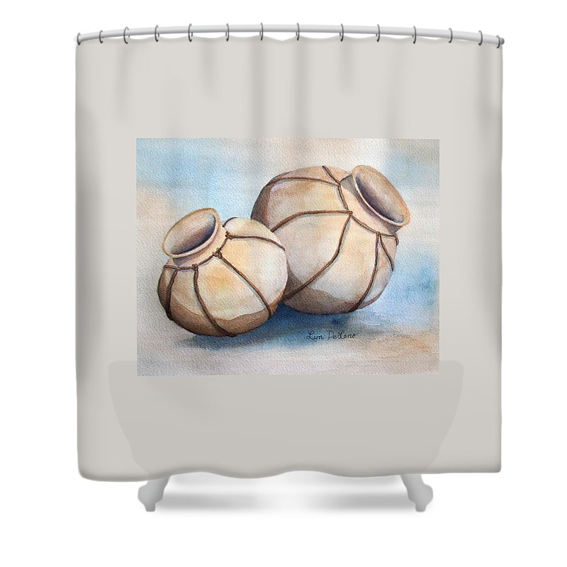 Pottery Shower Curtain featuring the painting Wedding Ollas by Lyn DeLano
