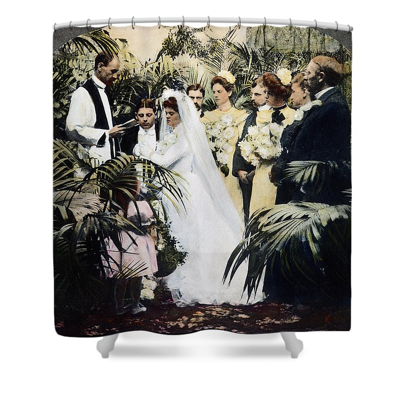 1900 Shower Curtain featuring the photograph Wedding Party, 1900 by Granger