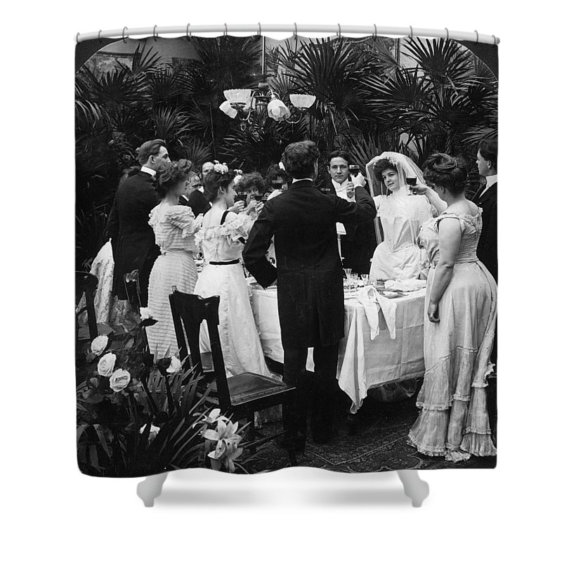 1904 Shower Curtain featuring the photograph Wedding Party, 1904 by Granger