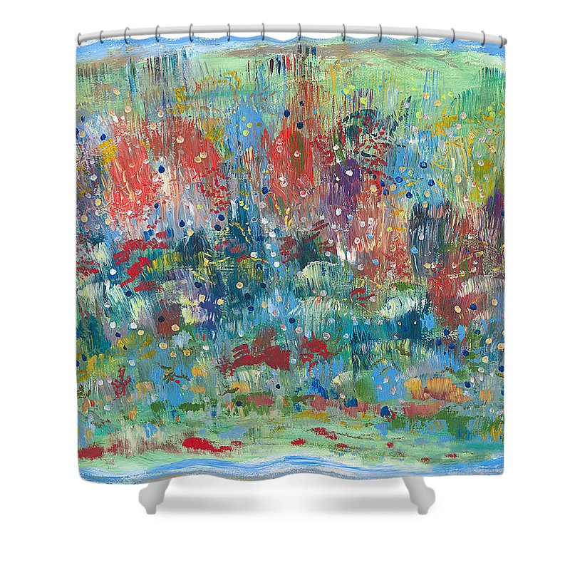 Contemporary Shower Curtain featuring the painting Weeds by Bjorn Sjogren
