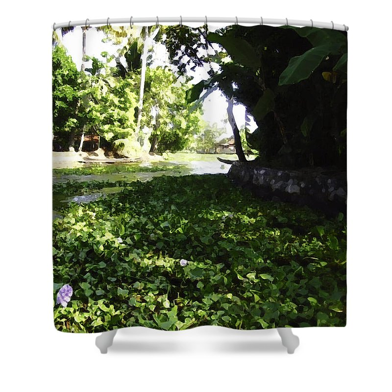 Alleppey Shower Curtain featuring the digital art Weeds Plants Boats And Lots Of Greenery by Ashish Agarwal