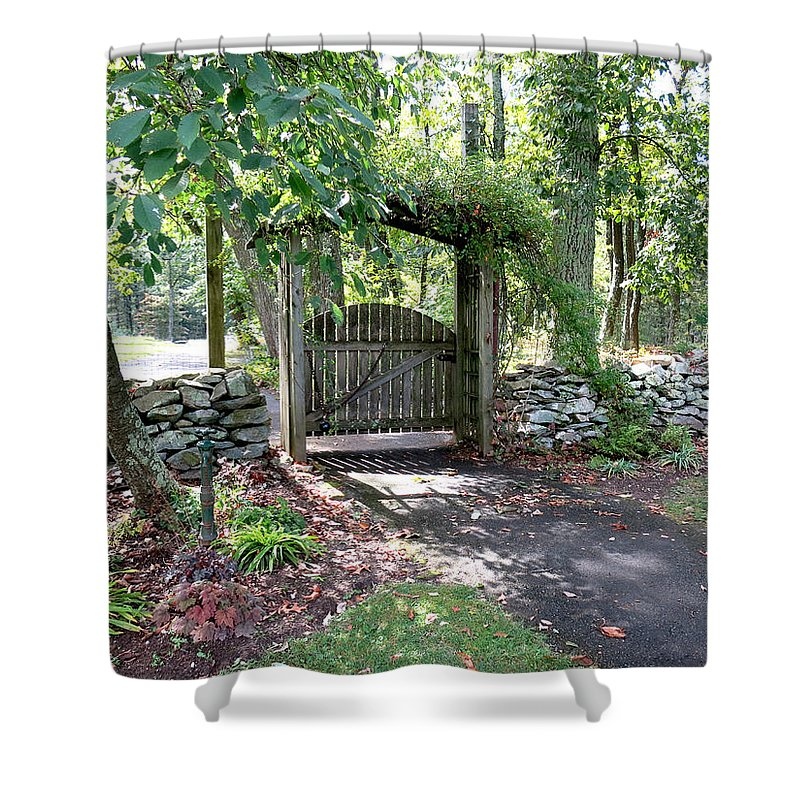 Gate Shower Curtain featuring the photograph Welcome by Jean Macaluso