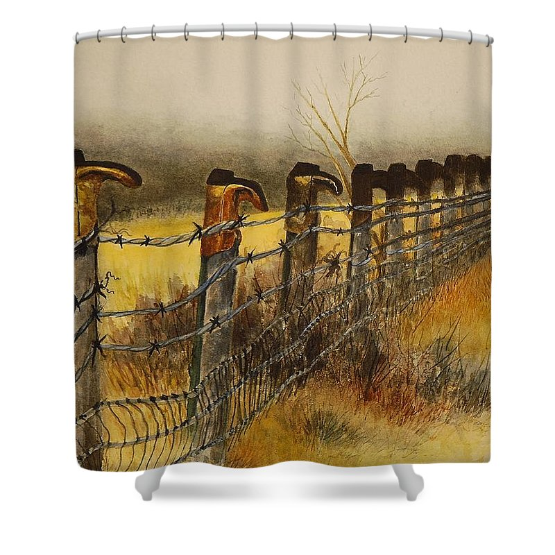 Boots Shower Curtain featuring the painting Welcome by Joy Bradley