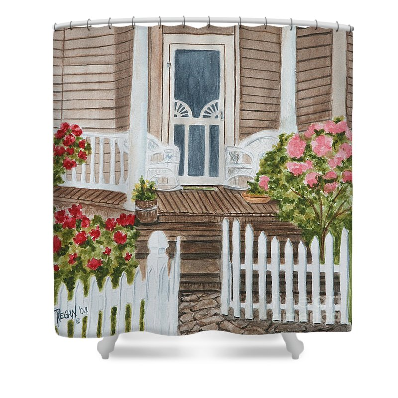 Architecture Shower Curtain featuring the painting Welcome by Regan J Smith