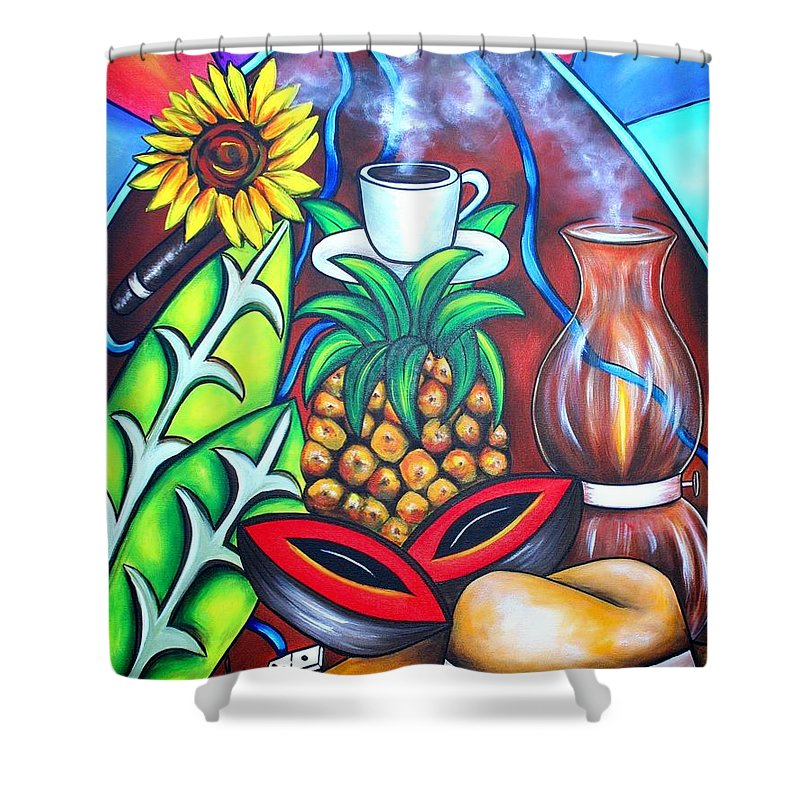 Cuban Paintings Shower Curtain featuring the painting Welcome To Here And Now by Annie Maxwell
